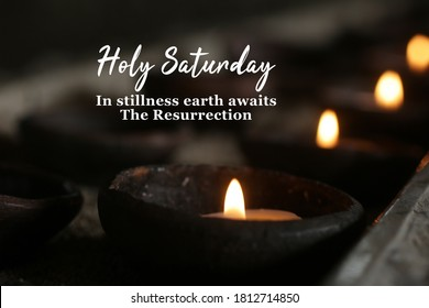 Holly week concept with candle and inspirational quote - Holy Saturday. In stillness earth awaits The Resurrection. On dark background of burning candles in traditional bowl ceramic in the church. - Shutterstock ID 1812714850