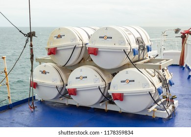 HOLLYHEAD, August 28th, 2018: Life rafts stacked on the deck of a ferry