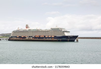 HOLLYHEAD, August 28th, 2018: Mein Schiff 3 a cruise ship owned by TUI Cruises moored at Holyhead
