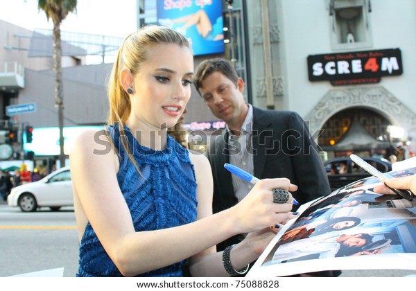 HOLLYWOOD -APRIL 11: Actor Emma Roberts at the premiere of the movie Scream 4 at Grauman's Chinese Theatre April 11, 2011 Hollywood, CA.