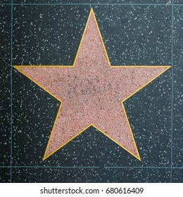 HOLLYWOOD: April 6 - Plain celebrity star on Hollywood Blvd sidewalk on April 6 2017 in Hollywood, CA