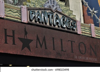 HOLLYWOOD - AUGUST 15, 2017: Marquee at the Pantages Theatre announcing the run of Hamiton August 15, 2017 Hollywood, CA.
