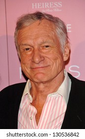 """HOLLYWOOD - AUGUST 18: Hugh M. Hefner at the party celebrating the launch of Paris Hilton's Debut CD """"Paris"""" at Privilege on August 18, 2006 in Hollywood, CA."""