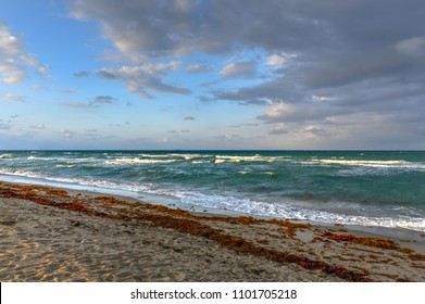 Hollywood Beach Florida in the evening as the sun is setting.