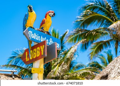 Hollywood Beach, Florida - July 6, 2017: Cityscape view of the colorful signs for the Margaritaville Resort, a popular tourist destination in Broward County.