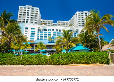 Hollywood Beach, Florida - July 6, 2017: Cityscape view of the Margaritaville Resort, a popular tourist destination in Broward County.