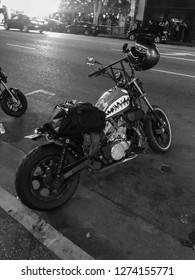 Hollywood bl, Los Angeles - 25 August 2018: dark motorbike on the street