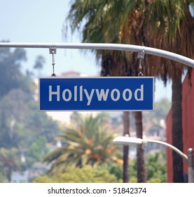 Hollywood Bl sign with palm trees in Los Angeles, California.