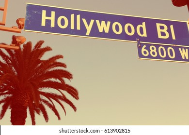 Hollywood Boulevard sign in Los Angeles. Vintage filtered colors.