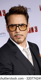 """HOLLYWOOD, CA - APRIL 20, 2013: Robert Downey Jr. at the Los Angeles premiere of """"Iron Man 3"""" held at the El Capitan Theater in Los Angeles, USA."""