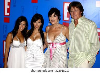 HOLLYWOOD, CA - AUGUST 01, 2005: Kourtney Kardashian, Kim Kardashian, Kris Jenner and Bruce Jenner at the E! Entertainment Television Summer Splash held at the Hollywood Roosevelt Hotel in Hollywood.