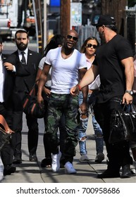 HOLLYWOOD CA - AUGUST 15, 2017: Boxer Floyd Mayweather, Jr arrives to the Jimmy Kimmel studio to promote his fight with Conor McGregor, happening in Las Vegas, August 15, 2017 Hollywood, CA.