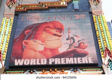 HOLLYWOOD CA : AUGUST 27: The marquee announcing the world premiere of the Lion King 3D at the El Capitan Theatre August 27, 2011 Hollywood, CA.
