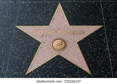 HOLLYWOOD, CA - DECEMBER 06: Aretha Franklin star on the Hollywood Walk of Fame in Hollywood, California on Dec. 6, 2016.