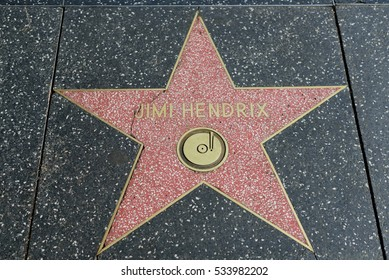 HOLLYWOOD, CA - DECEMBER 06: Jimi Hendrix star on the Hollywood Walk of Fame in Hollywood, California on Dec. 6, 2016.