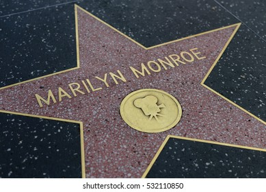 HOLLYWOOD, CA - DECEMBER 06: Marilyn Monroe star on the Hollywood Walk of Fame in Hollywood, California on Dec. 6, 2016.