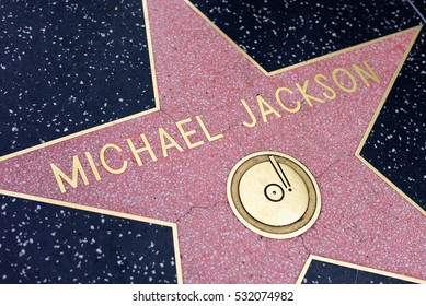 HOLLYWOOD, CA - DECEMBER 06: Michael Jackson star on the Hollywood Walk of Fame in Hollywood, California on Dec. 6, 2016.