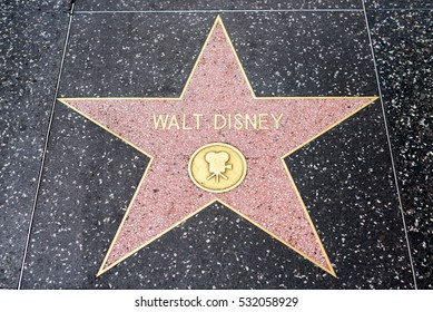 HOLLYWOOD, CA - DECEMBER 06: Walt Disney star on the Hollywood Walk of Fame in Hollywood, California on Dec. 6, 2016.