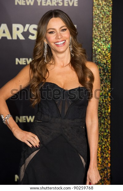 """HOLLYWOOD, CA - DECEMBER 5: Actress Sofia Vergara arrives at the premiere of """"New Year's Eve"""" at Grauman's Chinese Theater on December 5, 2011 in Hollywood, California"""