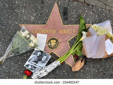 HOLLYWOOD, CA � FEBRUARY 27, 2015: Leonard Nimoy's star on the Hollywood Walk of Fame is surrounded by flowers and various memorial tributes left by fans on February 27 2015.