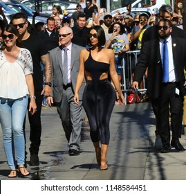 HOLLYWOOD CA - JULY 30, 2018: Reality television queen Kim Kardashian arrives for an appearance on Jimmy Kimmel Live! July 30, 2018.