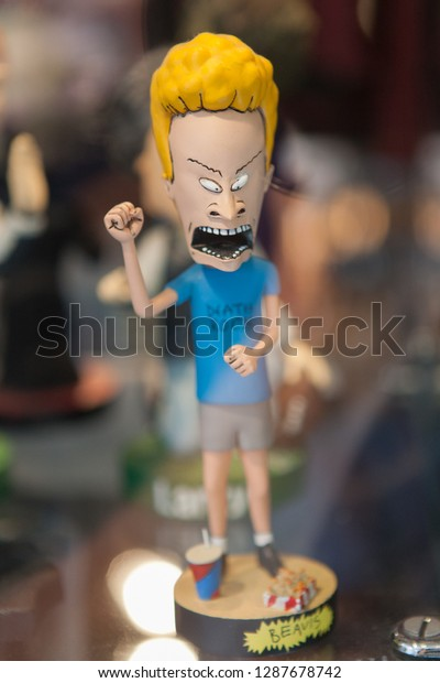 """Hollywood, CA - July 5, 2010: Beavis from a fictional MTV animated series """"Beavis and Butt-Head"""" created by Mike Judge display character on Hollywood Blvd."""