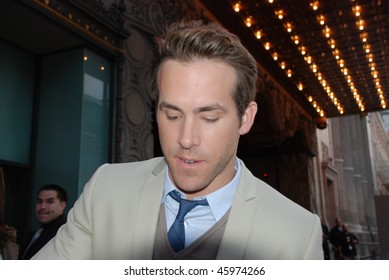 "HOLLYWOOD, CA- JUNE 1: Actor Ryan Reynolds attends the premiere of the movie ""The Proposal"" held at El Capitan Theatre in Hollywood, June 1, 2009 in Hollywood, CA."