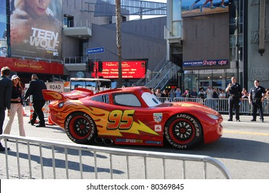 "HOLLYWOOD, CA- JUNE 18: Character Lightning McQueen arrives at Disney's Pixar ""Cars 2"" premiere, held at El Capitan Theatre, June 18, 2011 in Hollywood,CA."