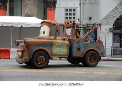 "HOLLYWOOD, CA- JUNE 18: Character Tow Mater arrives at Disney's Pixar ""Cars 2"" premiere, held at El Capitan Theatre, June 18, 2011 in Hollywood,CA."