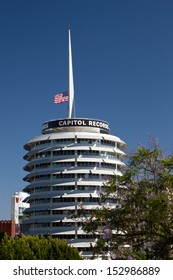 HOLLYWOOD, CA - JUNE 20: The Capitol Records building on Vine St. in Hollywood June, 20 2013 in Hollywood, California. The red light atop the building�s tower spells out �Hollywood� in Morse code.