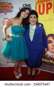 HOLLYWOOD, CA- MAY 29: Actresses Dulce Maria(L) and Carmen Salinas arrive at The Hola Mexico Film Festival  at The Montalban Theatre, May 29, 2012 in Hollywood, CA