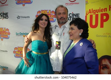 HOLLYWOOD, CA- MAY 29: Actresses Dulce Maria(L), Carmen Salinas(R) and Director Gonzalo Justiniano(C), arrive at The Hola Mexico Film Festival at Montalban Theatre, May 29, 2012 in Hollywood, CA.