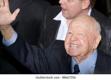 """HOLLYWOOD, CA - NOVEMBER 12: Mickey Rooney arrives at the Los Angeles premiere of """"The Muppets"""" held at the El Capitan Theater on November 12, 2011 in Hollywood, CA"""