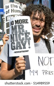 HOLLYWOOD, CA - NOVEMBER 13 2016: A protester holds a sign which reads, No More Mr. Nice Gay during an anti Trump rally on November 13, 2016 in Hollywood, California.