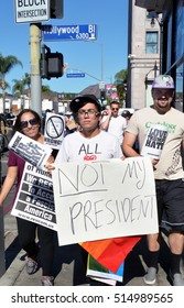 HOLLYWOOD, CA - NOVEMBER 13 2016: Protesters holding signs march near Hollywood Boulevard during an anti Trump rally on November 13, 2016 in Hollywood, California.