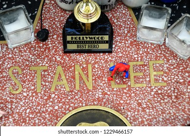 HOLLYWOOD CA - NOVEMBER 13, 2018: Mementos are being left on the star in Hollywood of Stan Lee because he died today November 13, 2018 Hollywood, CA.