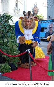 HOLLYWOOD, CA- OCTOBER 2: Beast Character arrives at Walt Disney Studios Beauty and The Beast Sing-Along at the El Capitan Theatre on October 2, 2010 in Hollywood, California.