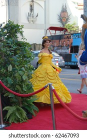 HOLLYWOOD, CA- OCTOBER 2: Belle Character arrives at Walt Disney Studios Beauty and The Beast Sing-Along at the El Capitan Theatre on October 2, 2010 in Hollywood, California.