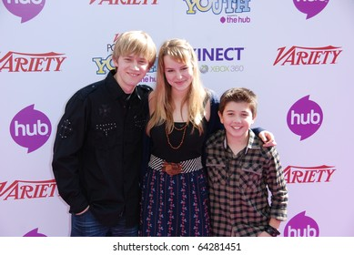 HOLLYWOOD, CA- OCTOBER 24 : Actors (L-R) Jason Dolly, Bridgit Mendler and Bradley Steven Perry attend the Power Of Youth event at Paramount Studios on October 24, 2010 in Hollywood, California