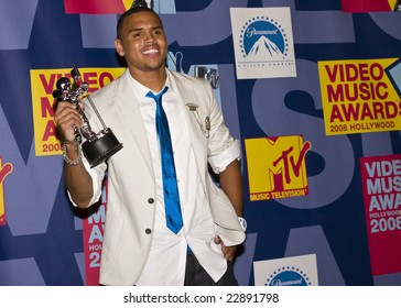 HOLLYWOOD, CA - SEPTEMBER 07: Singer CHRIS BROWN poses in the press room at the 2008 MTV Video Music Awards at Paramount Pictures Studios on September 7, 2008 in Hollywood, California.