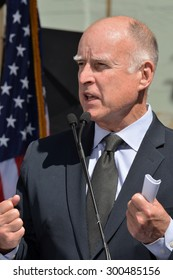 HOLLYWOOD, CA - SEPTEMBER 18, 2014: California Governor Jerry Brown speaks at the public signing of the California Film and Television Job Retention Act in Hollywood on September 18, 2014.