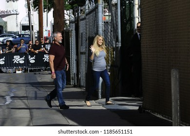 HOLLYWOOD CA - SEPTEMBER 19, 2018: CMA show host star Carrie Underwood is at the Jimmy Kimmel studio to talk to Jimmy about her future September 19, 2018 Hollywood, CA.