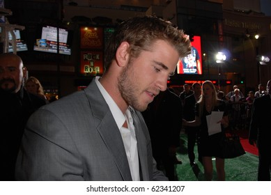 HOLLYWOOD, CA- SEPTEMBER 30: Actor Liam Hemswoth arrives on the red carpet for the premiere of Disney Pictures film the 'Secretariat', at The El Capitan Theater in Hollywood on September 30, 2010.