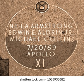 HOLLYWOOD CA USA APRIL 13 2015: Walk of fame star of Apollo 11 was the spaceflight that landed the first two humans, who were Americans, on the Moon.