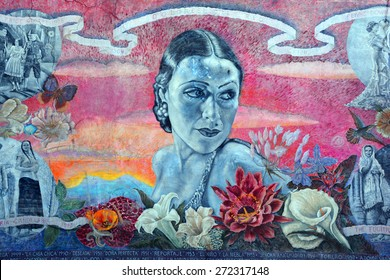 HOLLYWOOD CA USA APRIL 13 2015: Dolores Del Rio mural on Hollywood boulevard star in the 1920s and 1930s, and was one of the most important female figures of the Golden Age of Mexican cinema