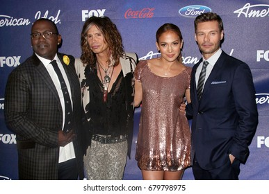 Hollywood, CA, USA; March 01, 2012;  American Idol judges from left, Randy Jackson Steven Tyler, and Jennifer Lopez and Ryan Seacrest arrive to the American Idol Finalist Party.
