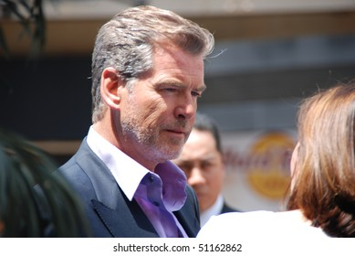 "HOLLYWOOD, CA-APRIL 17: Actor Pierce Brosnan arrives at the premiere of Walt Disney's movie ""Oceans"" at the El Capitan Theatre, April 17, 2010 in Hollywood, California."