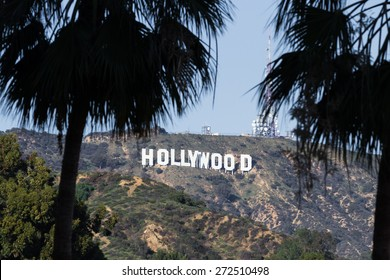 Hollywood, California - February 08 :View of the Hollywood sign from the Hollywood and Highland Center, February 08 2015 in  Hollywood, California.