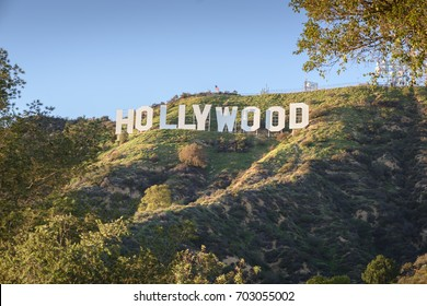 HOLLYWOOD - CALIFORNIA FEBRUARY 24, 2017: The Hollywood sign, built in 1923, is world famous landmark and American cultural icon on Mount Lee
