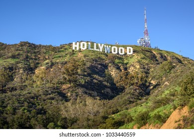 HOLLYWOOD - CALIFORNIA FEBRUARY 26, 2018: The Hollywood sign, built in 1923, is world famous landmark and American cultural icon on Mount Lee